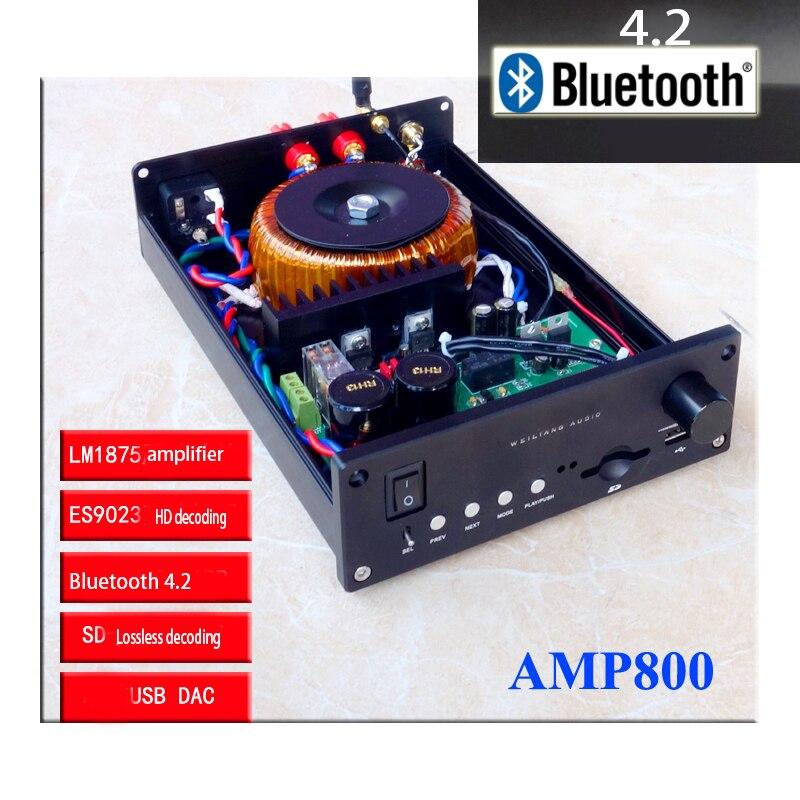 KYYSLB 220V 60W * 2 AM-800 4,2 amplificador Bluetooth LM1875 LM3886 tocadiscos DAC sin pérdidas 2 canales amplificador HIFI 4-8 Euro con USB