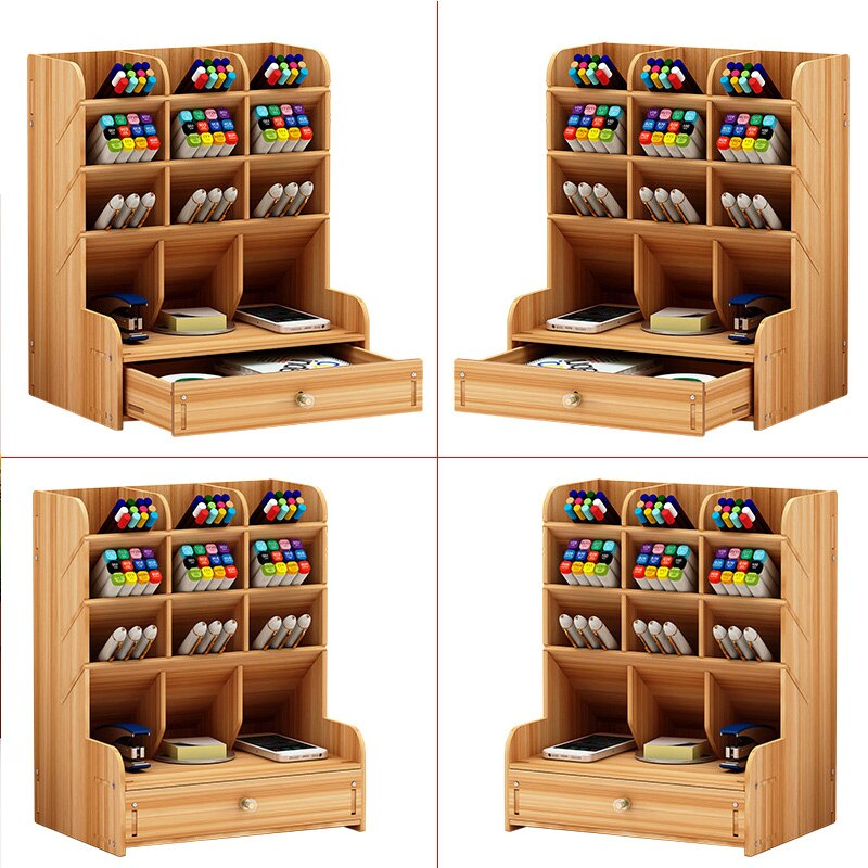 Wooden Multi-function Desktop Pen Holder 5 Layer Desk Storage Box Portable With Drawer Office School Storage Box Stationery