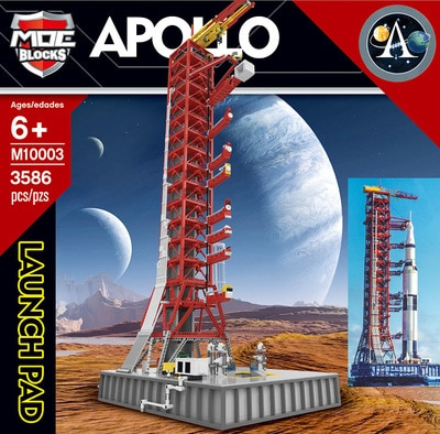 Apollo Saturn V Launch Umbilical Tower Space Shuttle Expedition Sets Building Blocks City Toy недорого