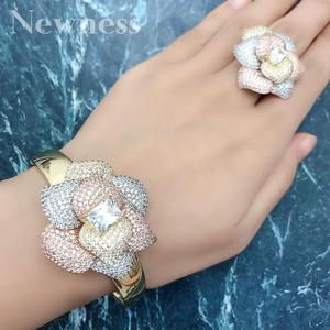 Newness Luxury Flower 2Pc Bangle Ring Sets Cubic Zircon jewelry Sets for women Wedding Tricolor African Dubai Bridal Jewelry Set