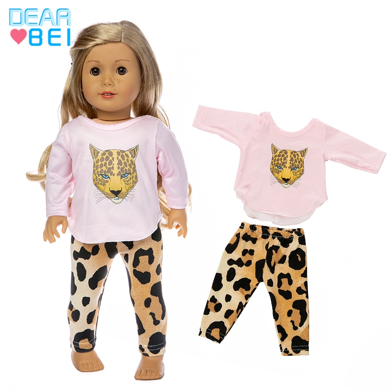 Fit 18 inch 43cm Doll Clothes Accessories Baby New Born American Pink Leopard Girl Clothes For Baby BirthdayGift недорого