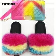 Women Fur Slippers Real Fox Fur Shoes Furry Cute Slides Shoes Rainbow Colorful Set-Handbag Jelly Shoulder Bag CandCrossbody Purs