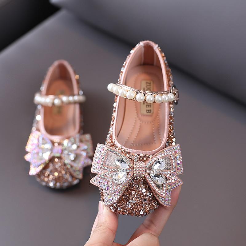 SKHEK Toddler Shoes Autumn Baby Girl Fashion Sequins Rhinestone Kids Princess Pearl Bowtie Flat Girls Leather