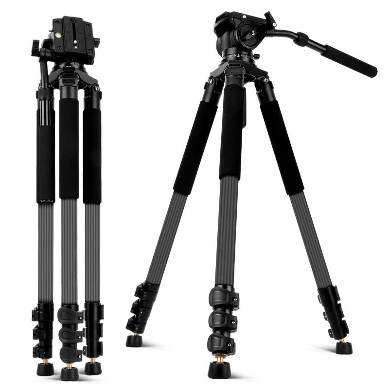 Carbon Fiber Video Stativ mit Flüssigkeit Kopf 192cm Professionelle Kamera Stativ für Nikon Canon Sony DSLR Kameras Video Camcorder