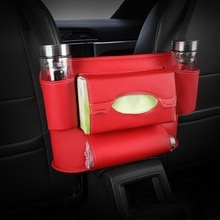 Car Hanging Bag Luxury pdated Leather Car Tissue Box Storage Bag Car Travel Convenient Adjustable Se