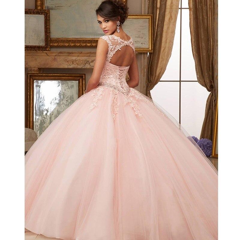 MYYBLE Rosa Puffy barato Quinceañera vestidos 2020 vestido de baile mangas tul...