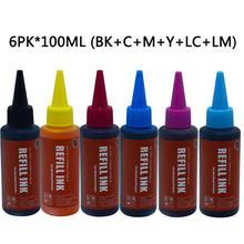 Kits de recarga De Tinta da impressora de tinta cores Compatíveis para Impressora Epson L800 6 L801 L805 L810 L850 L1800 L351 L353 L551 P50 T50