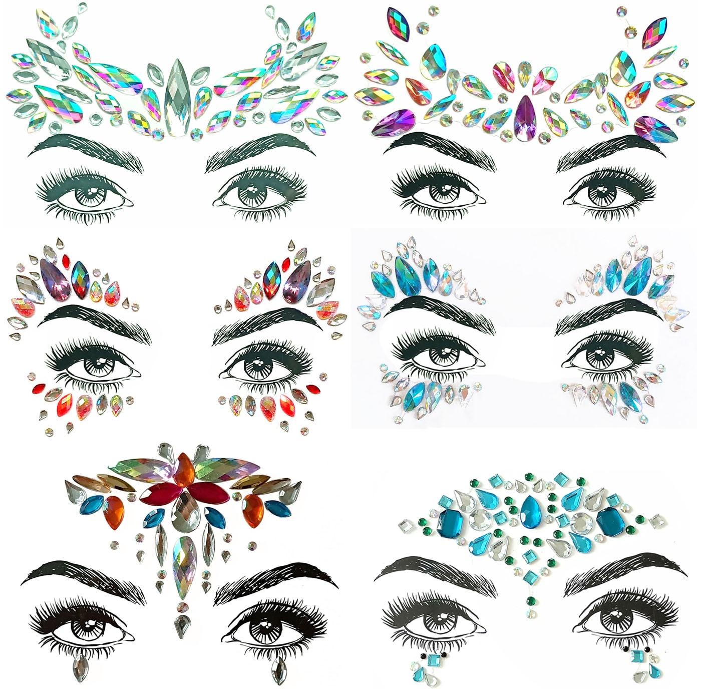 Adesivos de arte para o natal 1 peça, diy, sobrancelha, rosto, corpo, adesivo, arte, cristal, glitter, jóias, festa, olhos, adesivos de tatuagem, maquiagem, decoração de natal