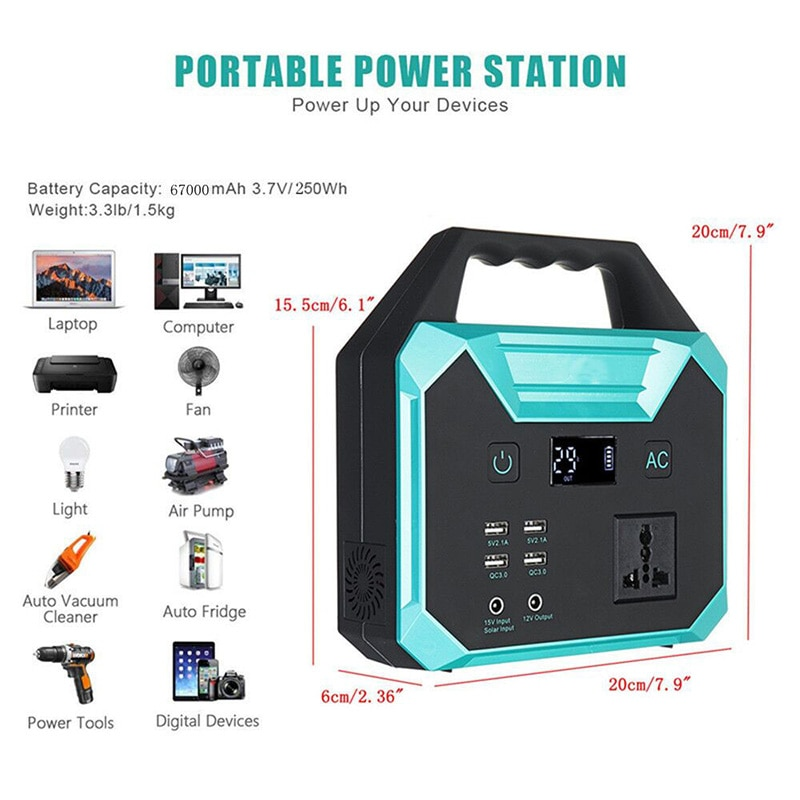Best Selling Power Bank Solar Power Station 67000mah 3.7V Portable Generator Battery Charger With USB QC 3.0 Quick Charge