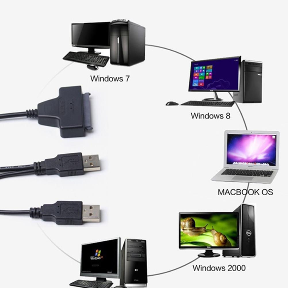 Cable HDD de 7 + 15 pines SATA, USB 2,0 a 2,5 pulgadas, adaptador duro HDD SSD para SATA y disco de F0O9