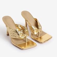 summer sexy square head thong toe womne sandals 2020 fashion new retro golden women high heels elegant comfortable womne sandals