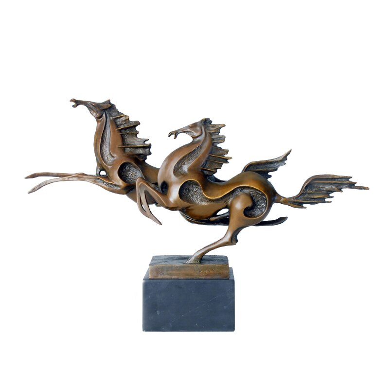 Estatua de pareja de caballos Hurtling, escultura de Animal moderno de bronce, obra de arte abstracta, Decoración de mesa de oficina para el hogar, regalo de negocios