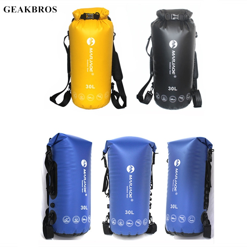 30L Trekking Dry Bag Swimming Bag Outdoor Camping Backpack Bucket Storage for River Rafting Boating Kayaking Canoeing Travel