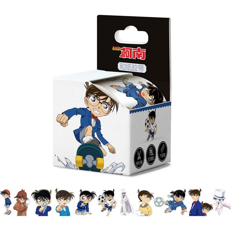 10 cajas/lote de cinta adhesiva de Anime Detective Conan, papel Washi Tape cerrado, etiqueta de cuenta de mano, 40mm x 5m