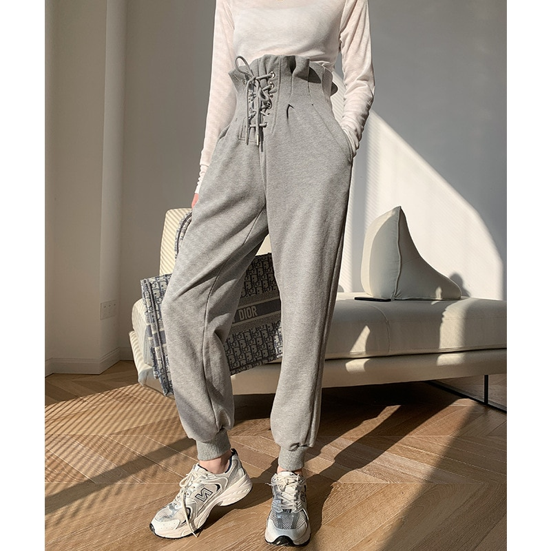 The new spring of 2021 bud sports casual pants are thin, with feet, BAI harem