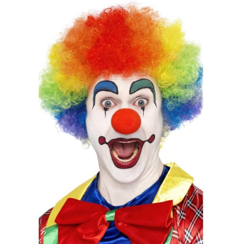 Creativity Clown Costume Wig Red Nose Bow Tie Rainbow Red Fancy Curls Wig