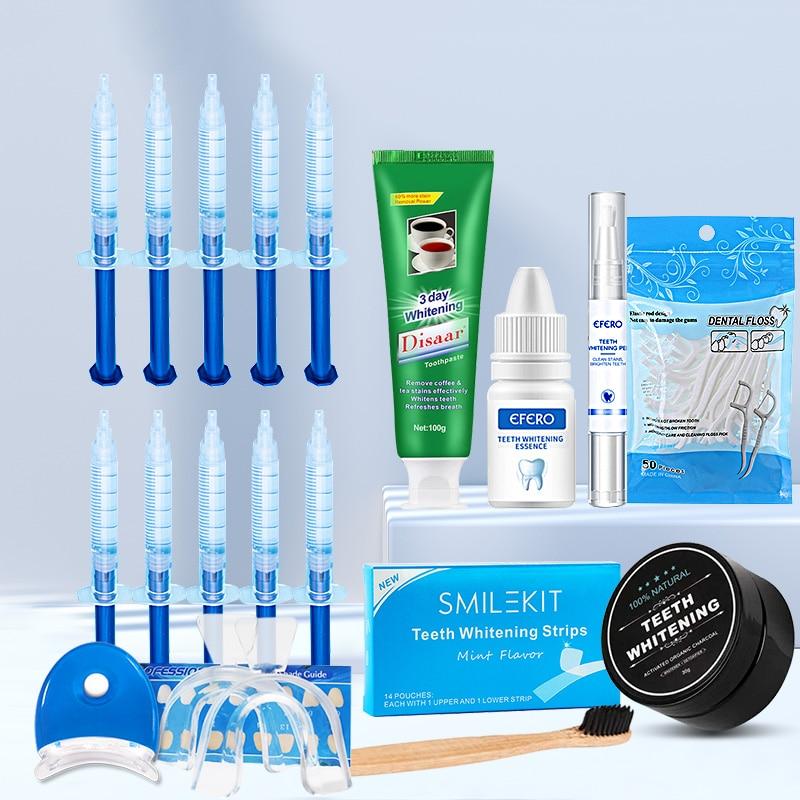 17PCS/SET Dental Floss Picks Teeth Toothpicks Stick Whitening Toothpaste Dental Peroxide Whitening Pen Powder Essence Gel Kit