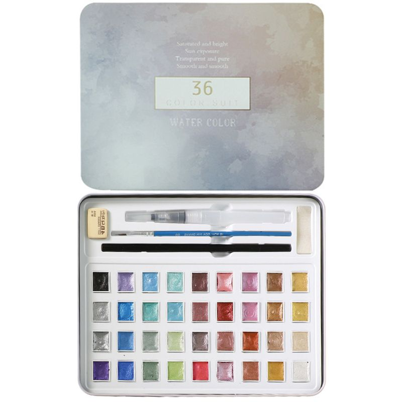36 Colors Glitter Solid Watercolor Set Portable Hand-painted Watercolor Paint Pigment with Paint Brush for Drawing Art Supplies