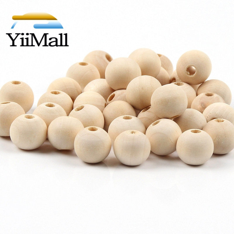 4-50mm DIY Natural Wood Round Beads Lead-Free Balls Loose Wooden Beads For Jewelry Making Bracelet N