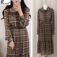 Robe de chemise à carreaux Vintage   Style japonais, Preppy filles, taille Slim, coupe a-line rétro, col claudine, robe mignonne