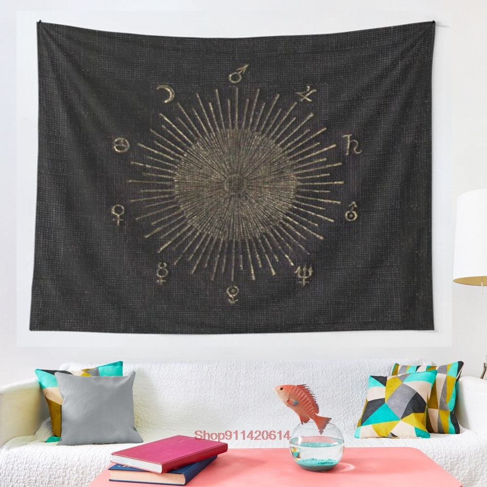 Astronomy Symbols tapestry Psychedelic Colorful Wall Hanging Tapestries Dorm Wall Art Yoga Mat