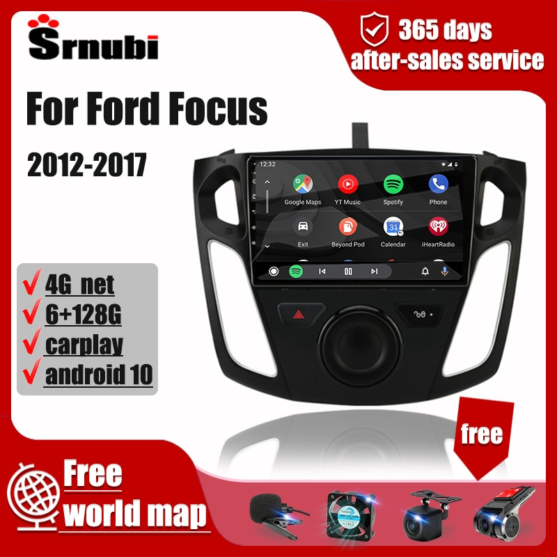 Автомагнитола для Ford Focus 2012-2017, Android, мультимедийный плеер, GPS-навигация, 4G, 2Din, стерео, аудио, фотомагнитола, видео, DVD