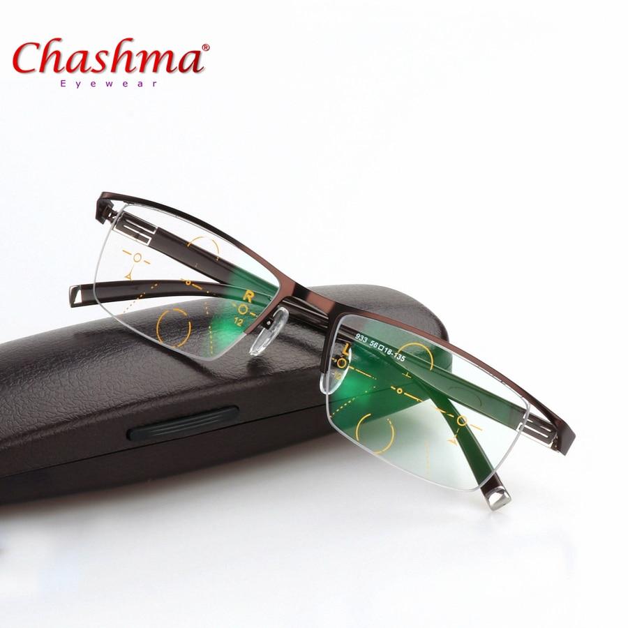 Lentes multifocales de calidad de aleación de titanio de 2017 ENW gafas de lectura de moda para hombre gafas de medio borde progresivo de cristal de dióptero cuadrado