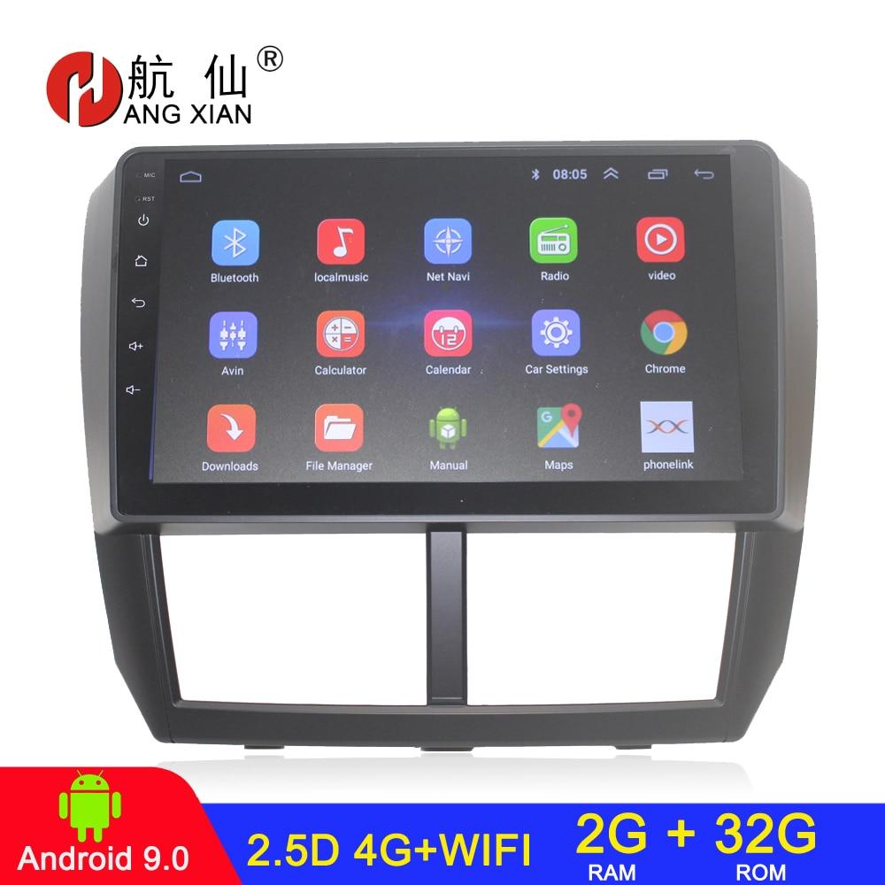 Radio para coche Android 9,0 2 din, estéreo para Subaru Forester 2008-2012, audio para coche, 2G + 32G, internet 4G, manicura