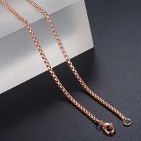 davieslee necklace for women men stainless steel rose gold color box chain womens necklace 18 28inch dkn555
