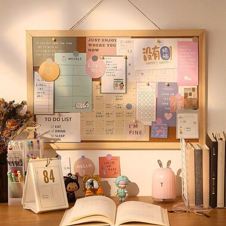 Minkys kawaii carta de madeira placa de mensagem cartão decorativo foto parede cortiça placa de papel de fundo papelaria