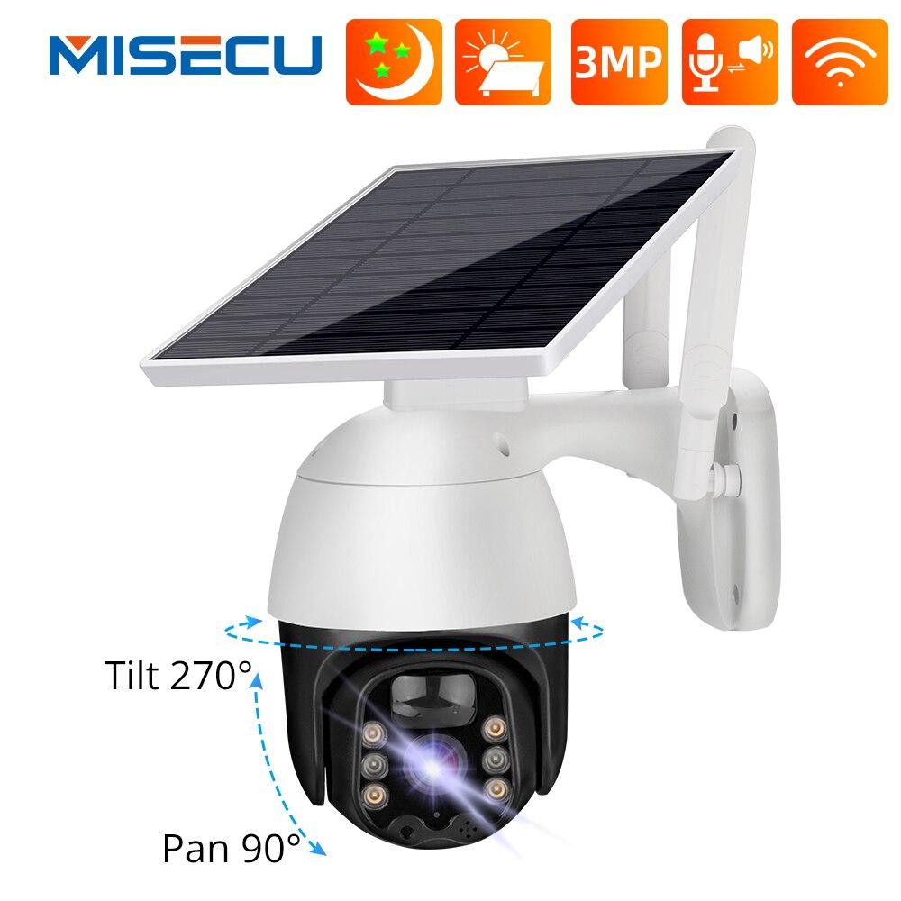 MISECU 3MP واي فاي كاميرا IP 4 واط لوحة طاقة شمسية بطارية قابلة للشحن كاميرا الأمن الذكية AI في الهواء الطلق سرعة قبة كاميرا متحركة 2-way Audio