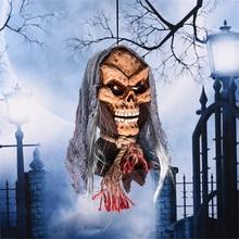 Halloween Decoration Electric Props Hanging Skull Ghost Head with Creepy Eyes Festival Bar Club Ktv Home Tree Door Hanger Ghost