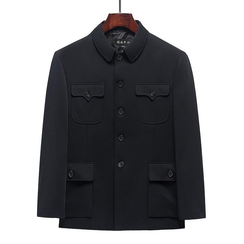 Men Zhongshan Mao Suit Chinese Style Tunic Blazer Male Spring Autumn Black Classical Sun Yat Sen Suits Outfits Elegant Clothes