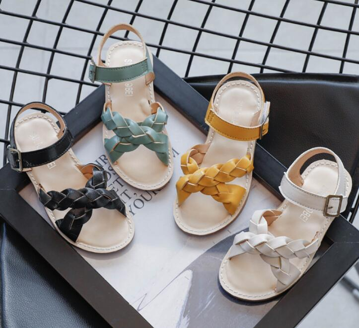 Kids Shoes 2021 Summer Toddler Pu Leather Flat Baby Girls Fashion Princess Sandals Toddler Brand Sof