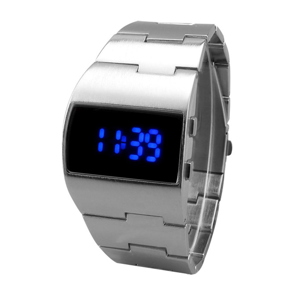 Pulsera de hombre de hierro para hombres y mujeres, reloj Digital electrónico de negocios, decoración de pantalla LED, regalo, Fitness, portátil, ajustable