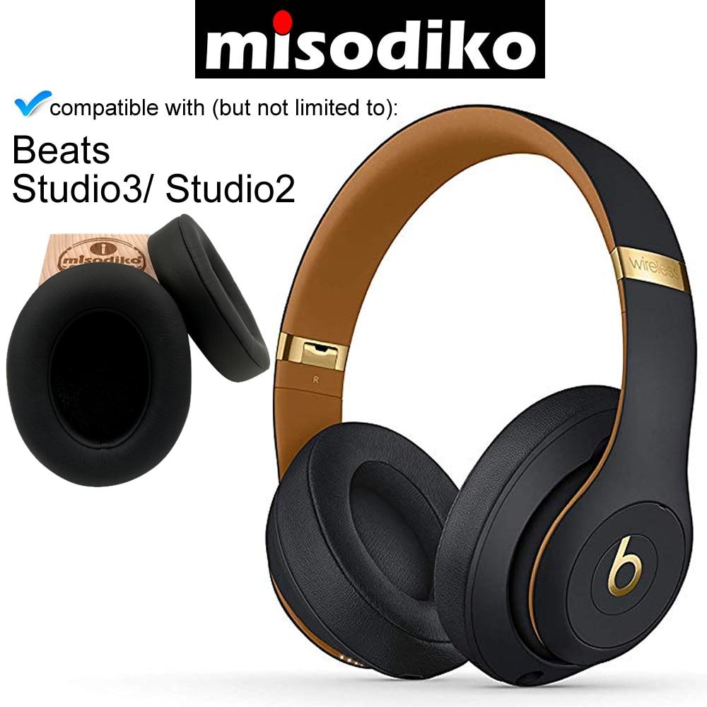 Misodiko Сменные кожаные подушечки для ушей из пены памяти для Beats Studio 3,0 & 2,0 Проводные/беспроводные наушники B0500 B0501
