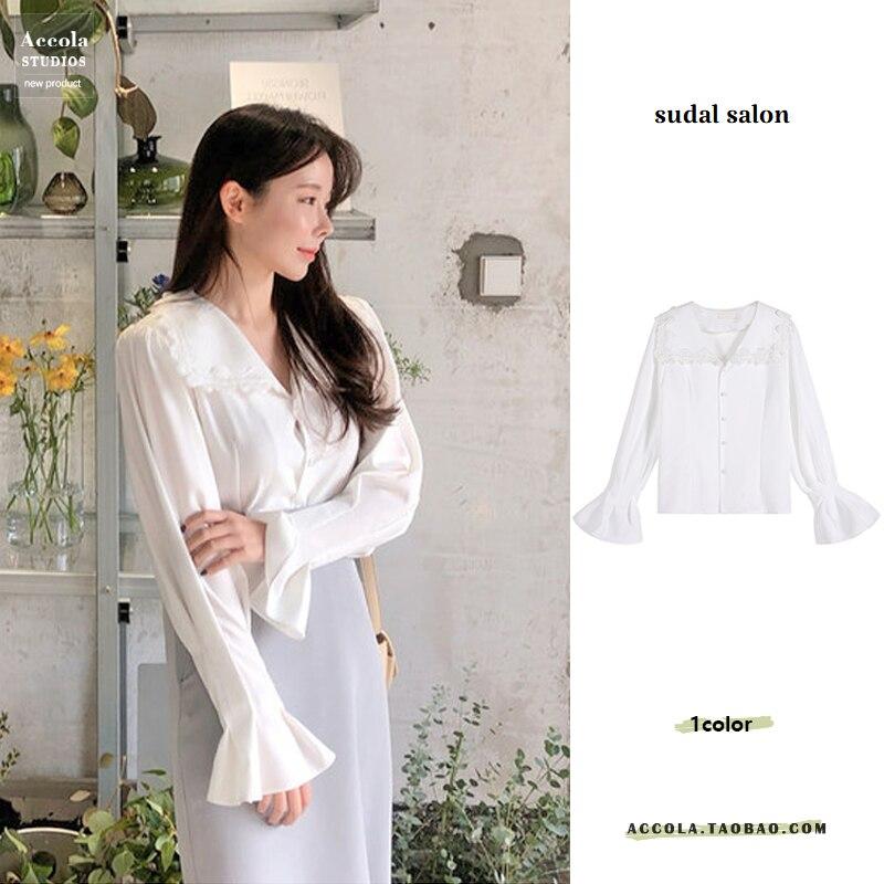 White Sweet Elegant Top Lace Edge Large Lapel Lightly Mature Lantern Sleeve Long Sleeve Shirt Women'