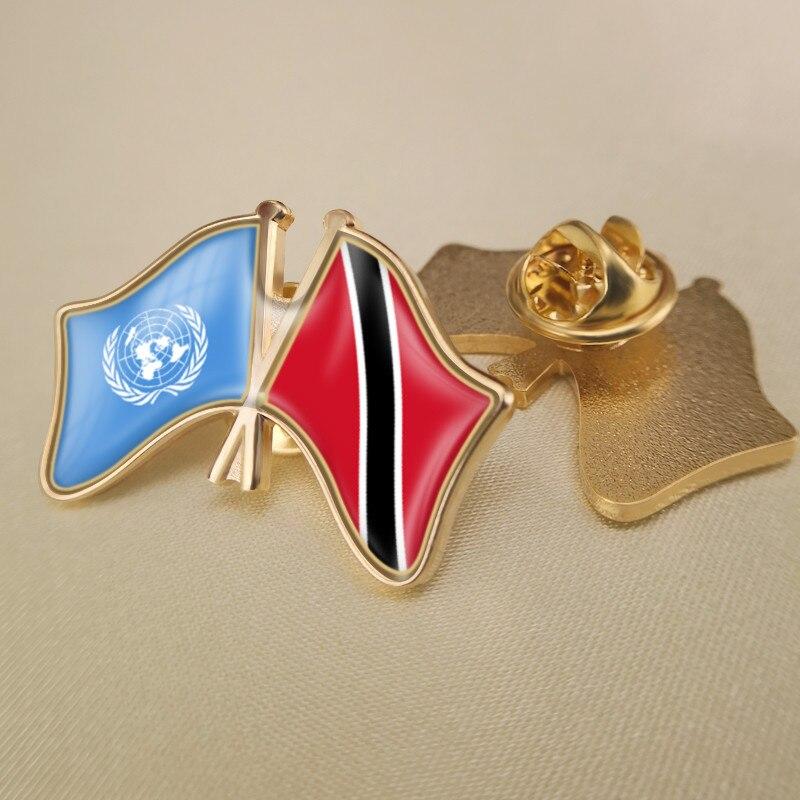 Prendedores de solapa con banderas de doble amistad cruzados por las Naciones Unidas y Trinidad y Tobago