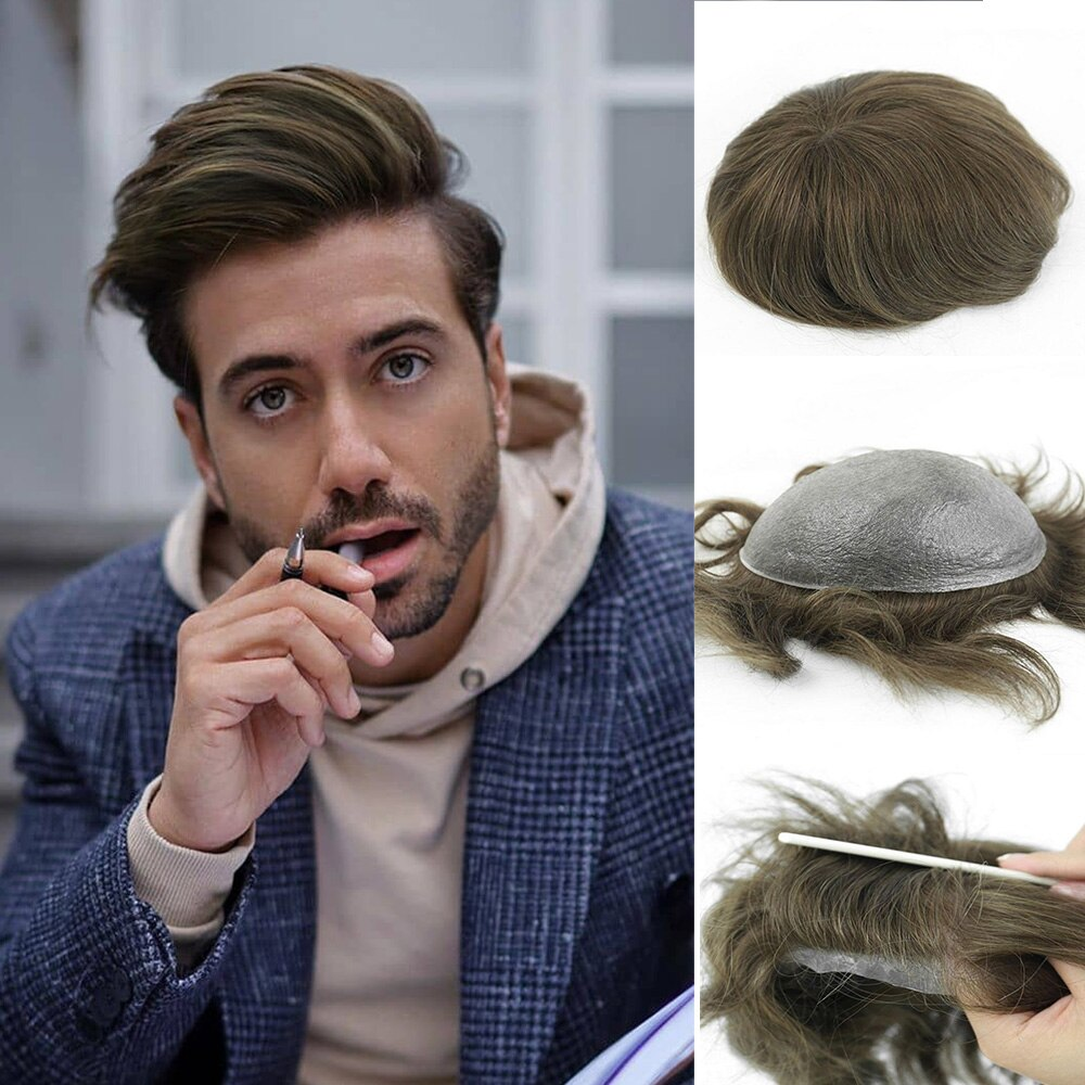 Men's Wig PU V-looped Skin for Men Fashion Human Hair Pieces for Men Real Natural Men's Hair Replacemnt System Hairpiece