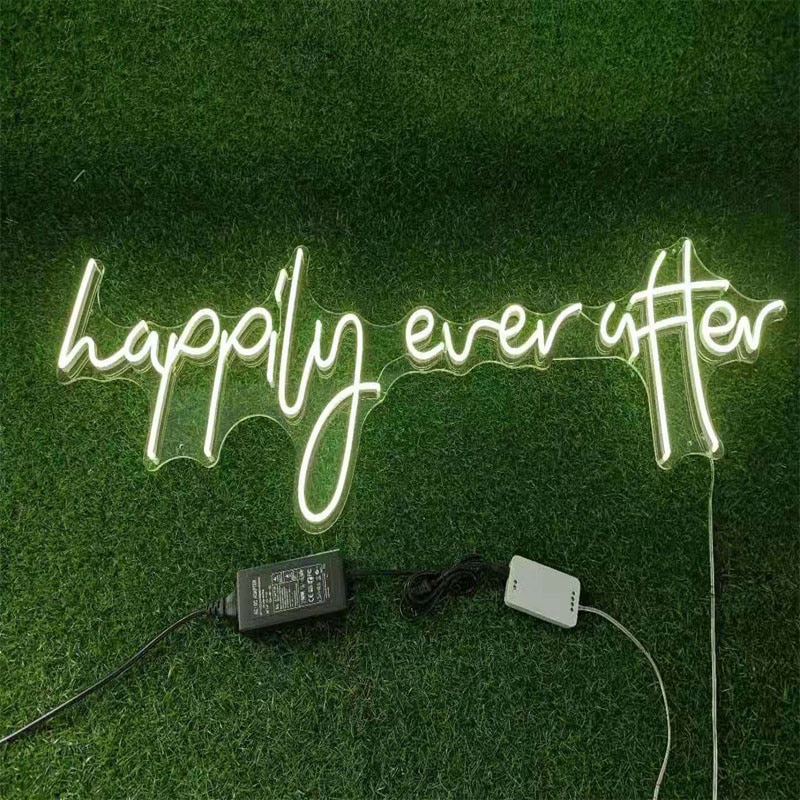 OHANEONK Custom Neon Sign Light of Happily Ever After for Wedding Personal Party Home Room Bedroom  Decor enlarge