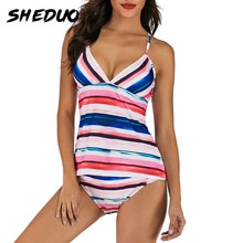 2021 Newest Striped Colorful Women's Swimsuit Deep V Body Suits Vintage Bathing Suits Womens Sexy Sw