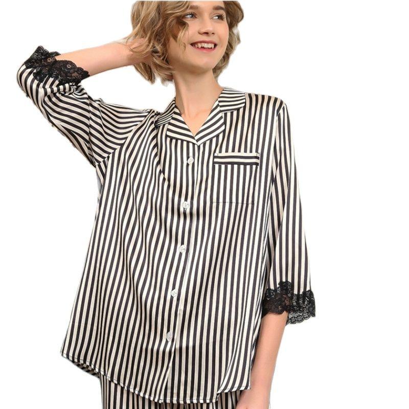 Real Silk Pajama Female Latest Silkworm Silk Long-Sleeve Sleepwear Woman Black Striped Two-Piece Pyjama Sets T8181