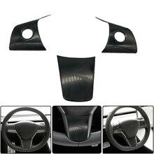 Pour Tesla modèle 3 bouton de volant coque de Protection modifié voiture intérieur Patch bas 3 pièces