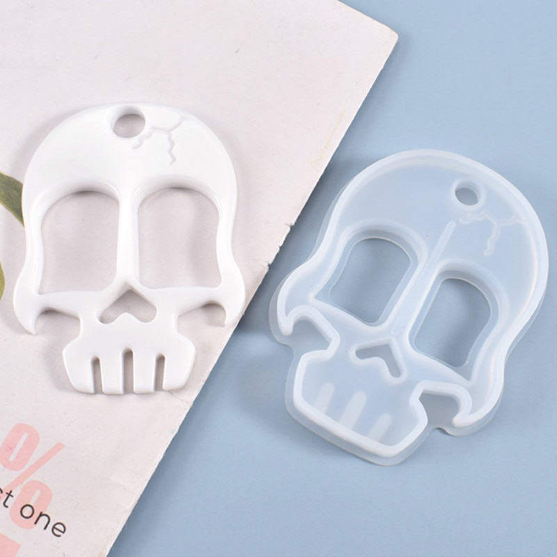 DIY Self Defense Weapon Keychain for Resin Art Creepy Skull Head Silicone Mold Resin Mold Supplies Epoxy Resin Molds Halloween