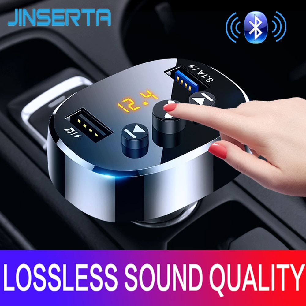 JINSERTA FM Transmitter Car Bluetooth 5.0 FM Radio Modulator Car Kit Dual USB Car Charger Handsfree Wireless MP3 Player