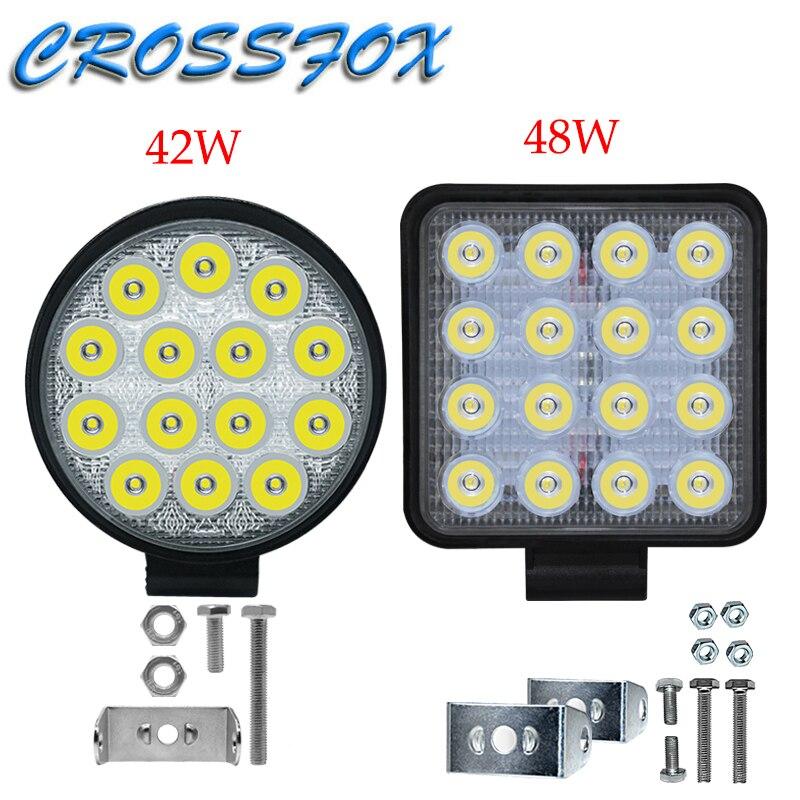 Barra LED 4x4 42W 48W 84W 96W Barra de luces LED de trabajo luces de carrera de coche haz brillante faros de vehículos 12v 24v camión Led para luz SUV
