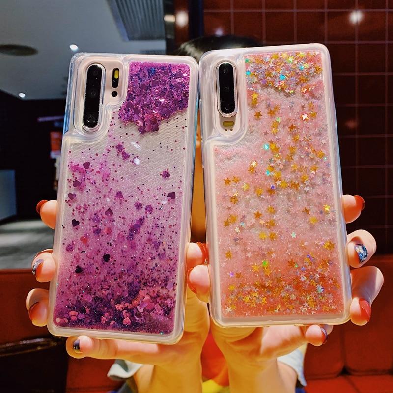 Para Huawei P30 P20 Mate 10 20 Pro Nova 3 3i 4 4e Honor 9 20 10 Lite el brillo líquido de Glitter. Arenas Movedizas corazón estrella suave de la cubierta del TPU del caso