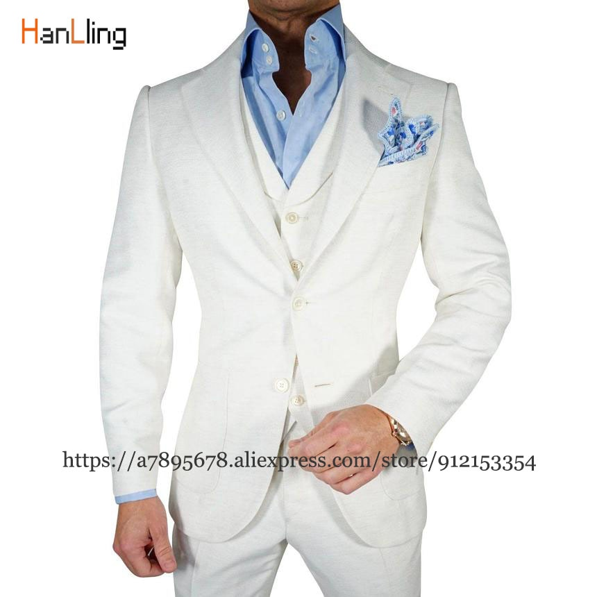 الرجال 3-قطعة ضئيلة سترة الزفاف العريس سهرة اللباس بدلة عمل السترة + السراويل + سترة мужской костюм
