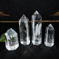 5 10cm natural crystal clear quartz transparency quartz point healing stone hexagonal prisms obelisk wand stone home decor 1pc