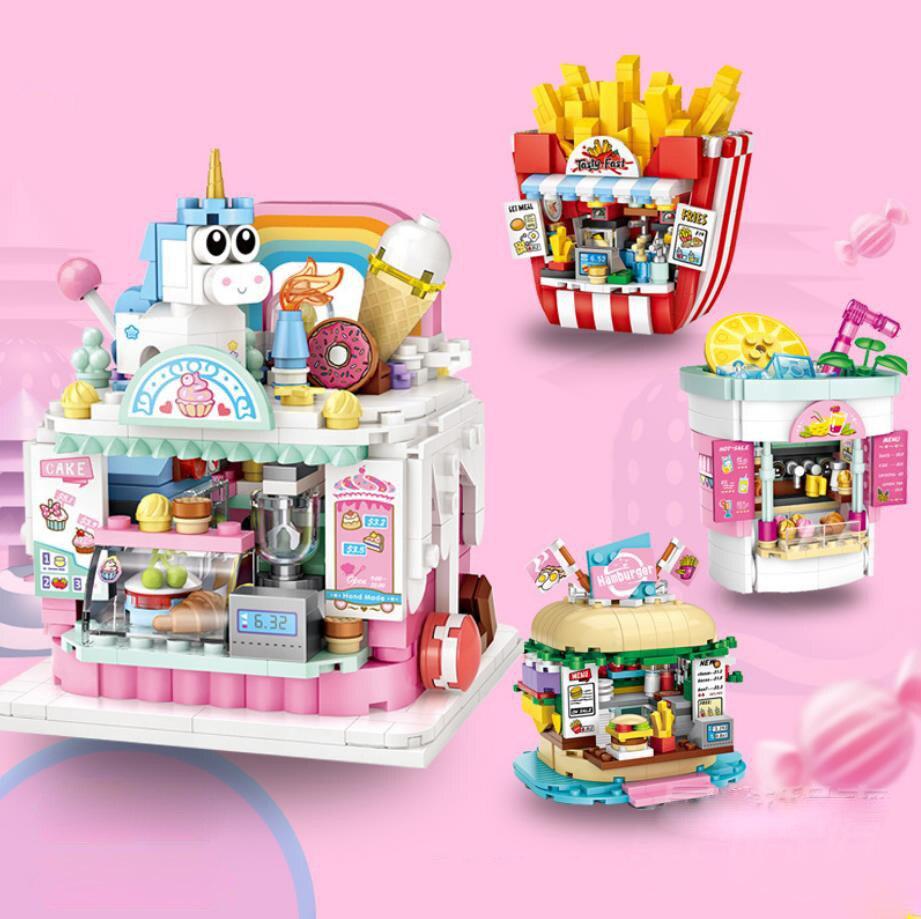 Parque infantil cidade vista rua mini bloco pastelaria beber frio hamburgo batatas fritas loja parque de diversões construção tijolos brinquedo